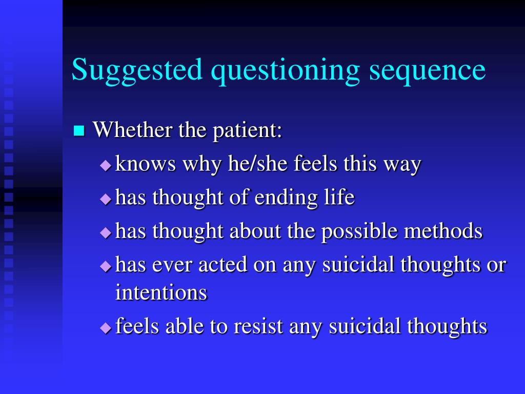 Suggested questioning sequence