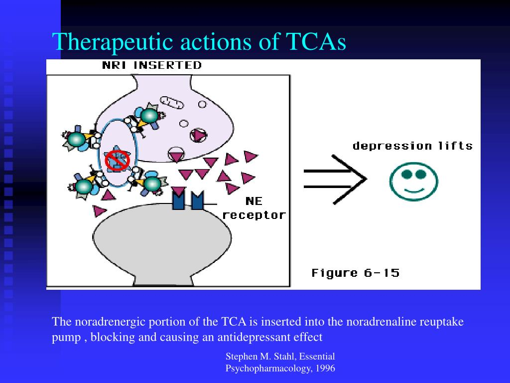Therapeutic actions of TCAs