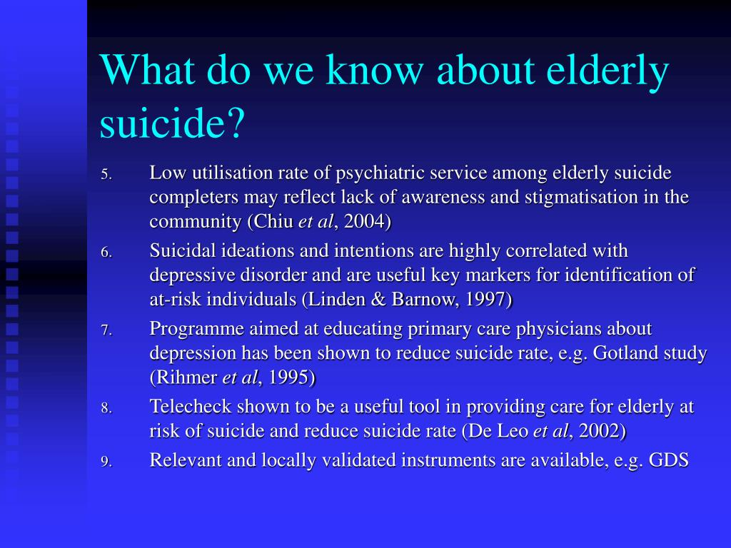 What do we know about elderly suicide?