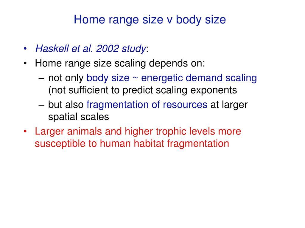 Home range size v body size