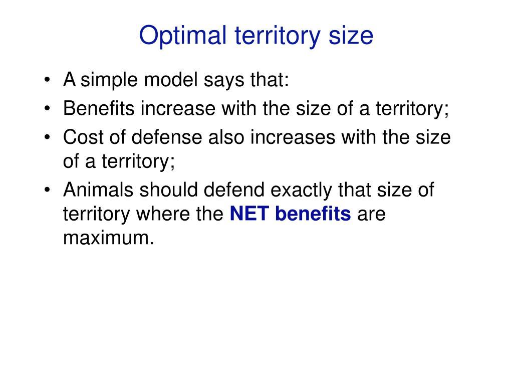 Optimal territory size