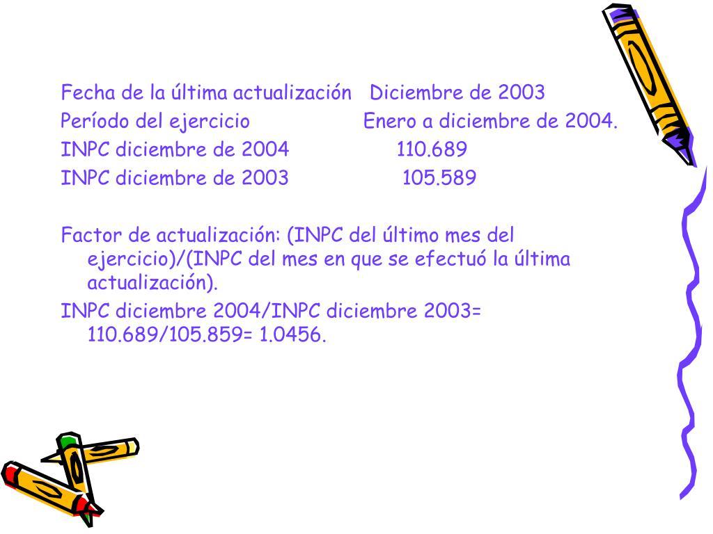 Fecha de la última actualización   Diciembre de 2003