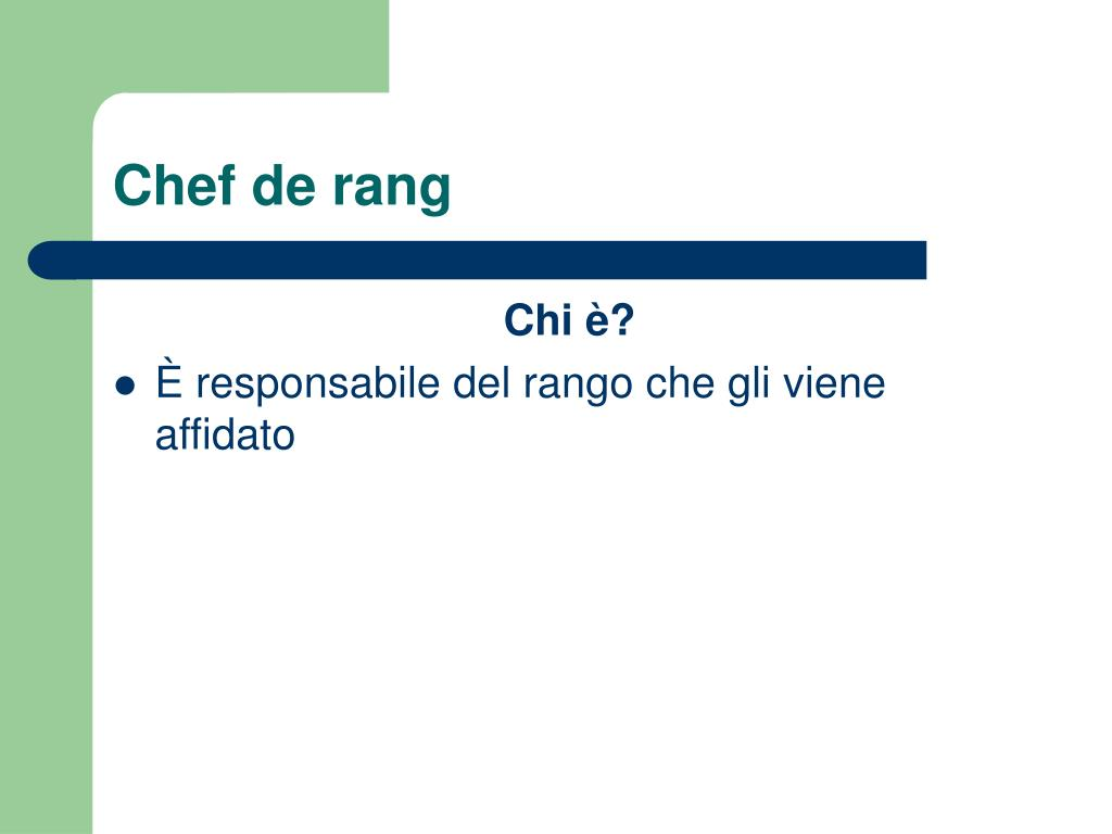 Ppt la brigata di sala powerpoint presentation id 628748 for Chef de rang