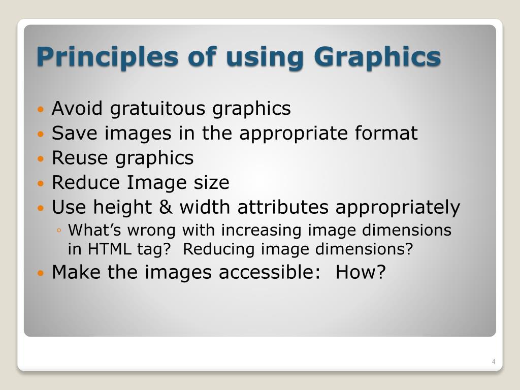 Avoid gratuitous graphics
