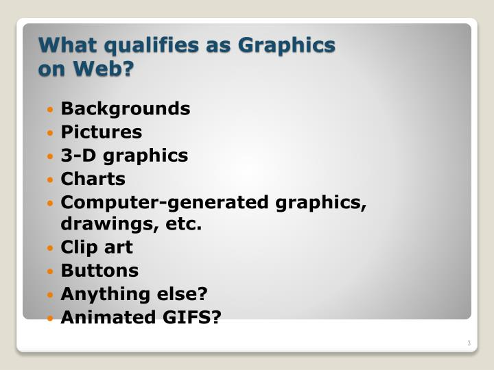 What qualifies as graphics on web