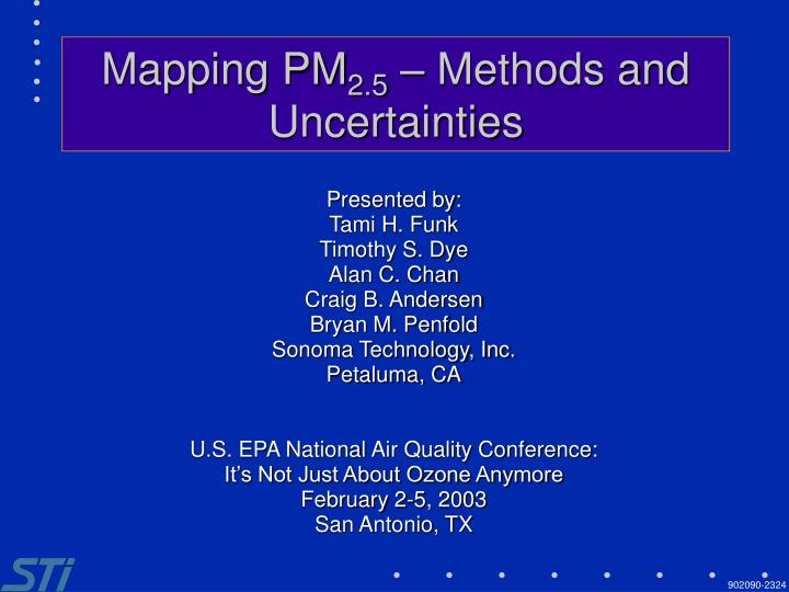 Mapping pm 2 5 methods and uncertainties