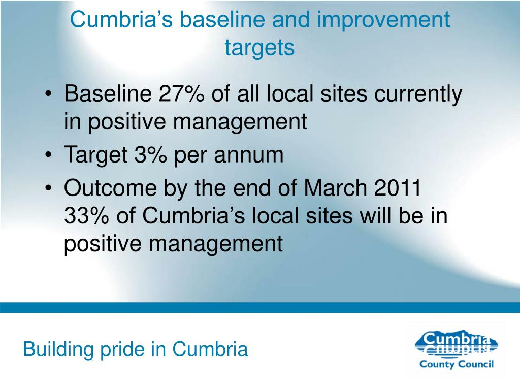 Cumbria's baseline and improvement targets