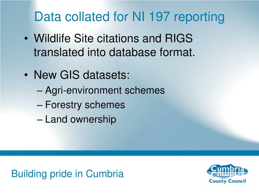 Data collated for NI 197 reporting