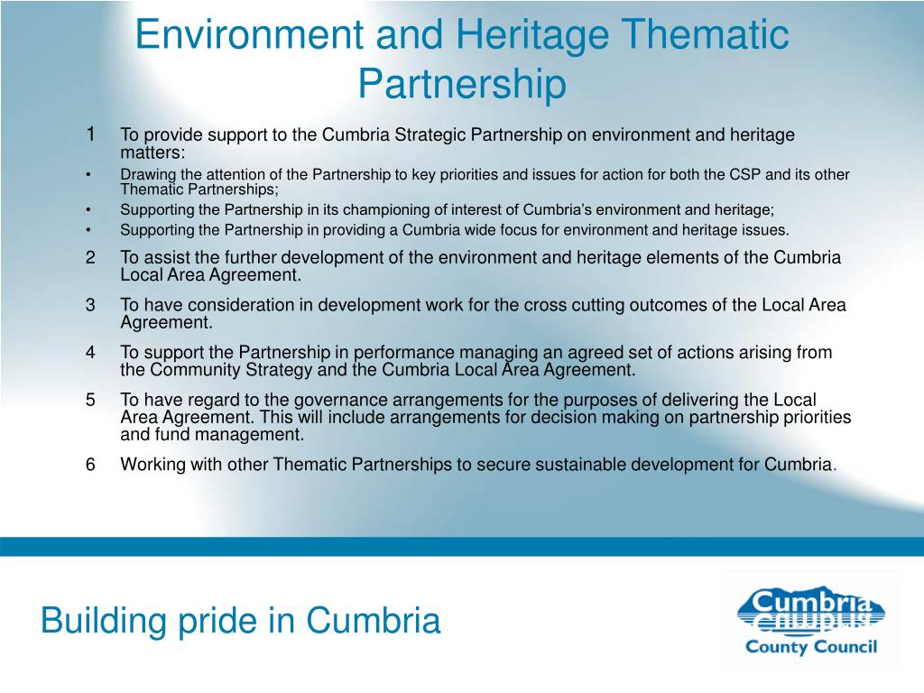 Environment and Heritage Thematic Partnership