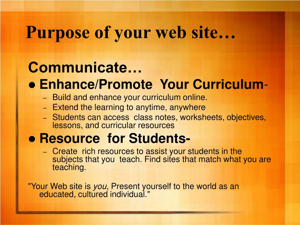 Purpose of your web site…