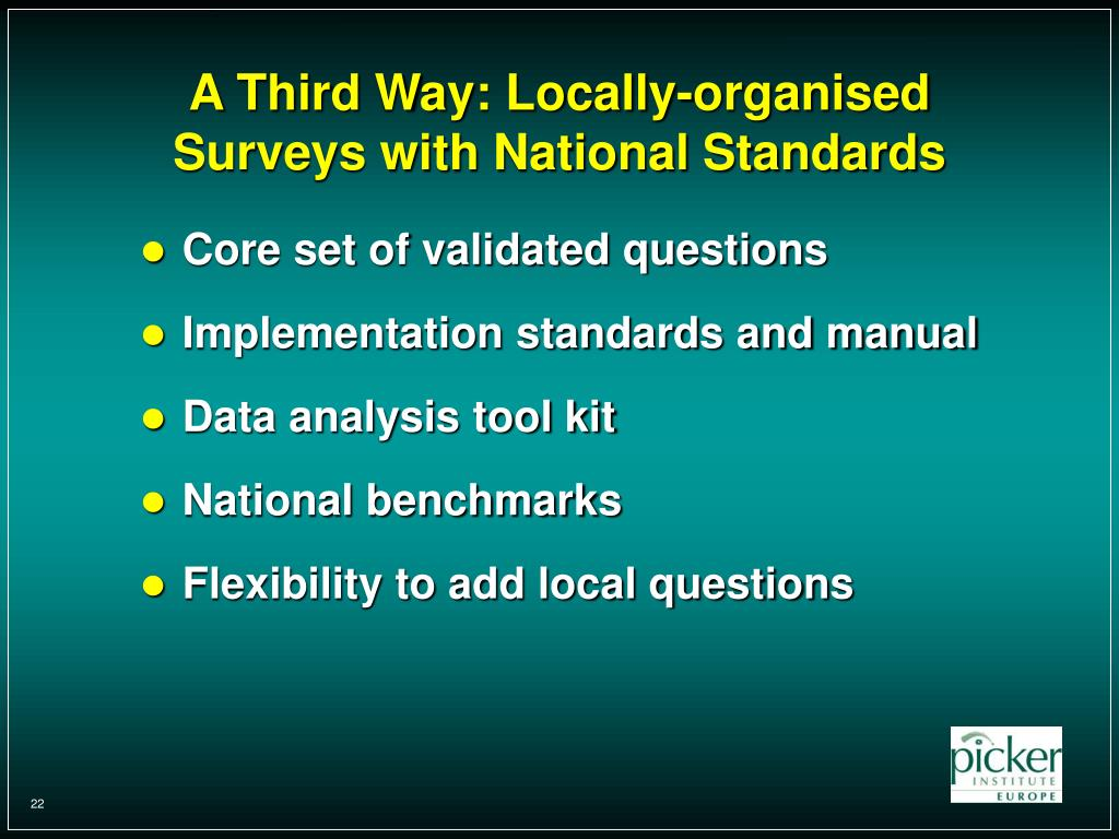 A Third Way: Locally-organised Surveys with National Standards