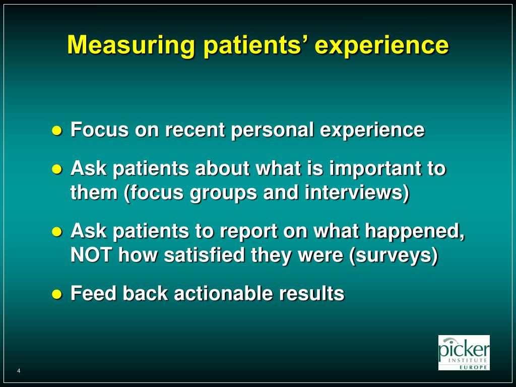Measuring patients' experience