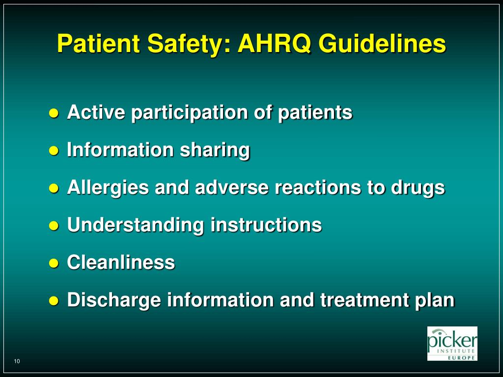 Patient Safety: AHRQ Guidelines
