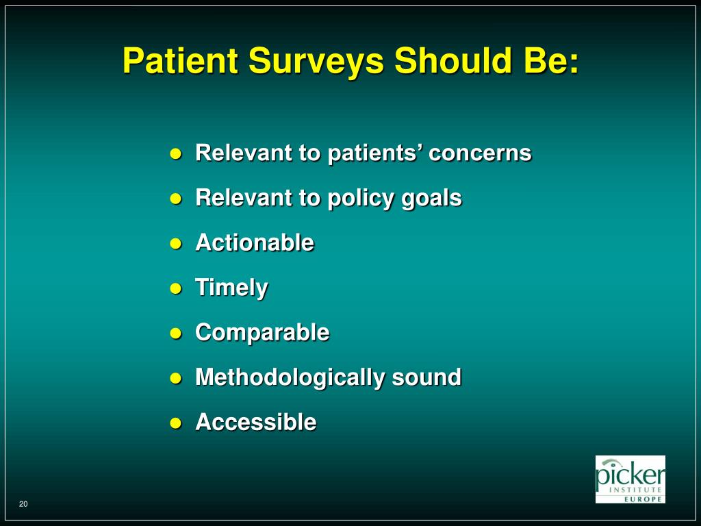 Patient Surveys Should Be: