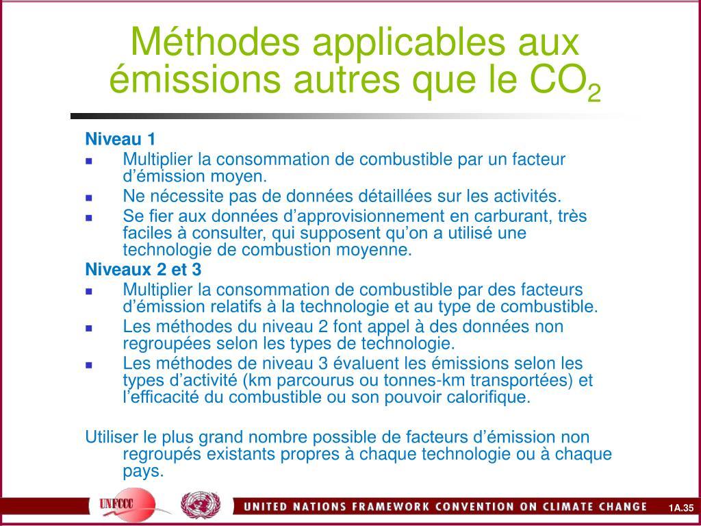 Méthodes applicables aux émissions autres que le CO