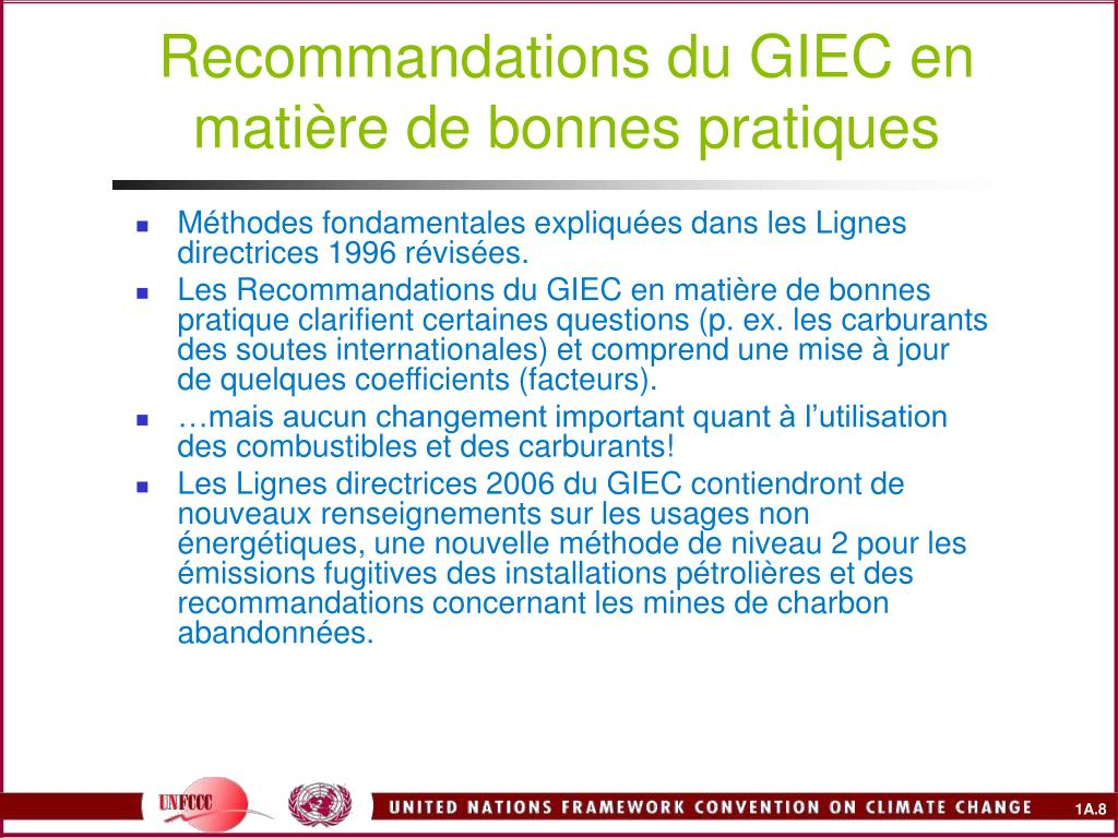 Recommandations du GIEC en matière de bonnes pratiques