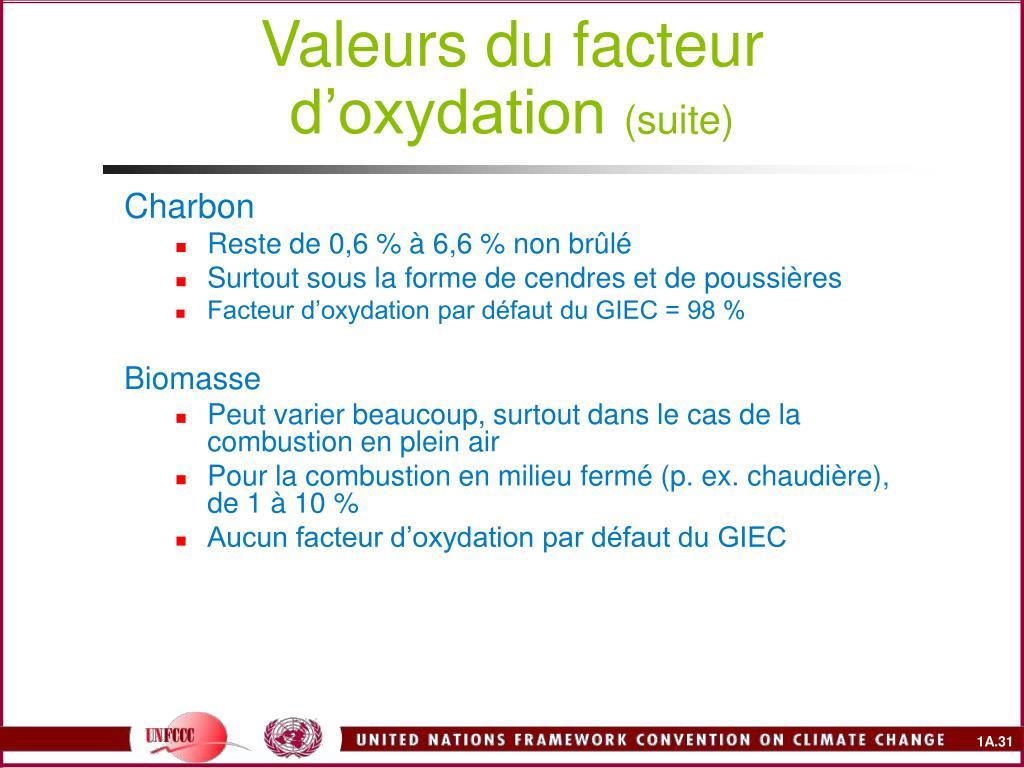 Valeurs du facteur d'oxydation