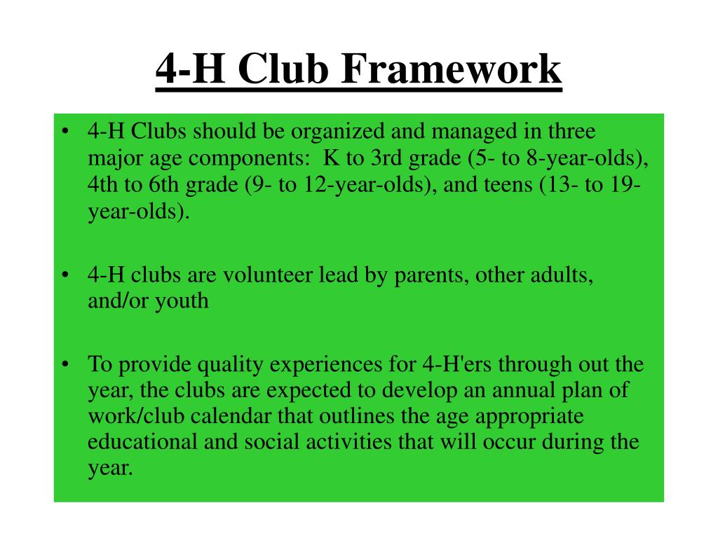 4-H Club Framework