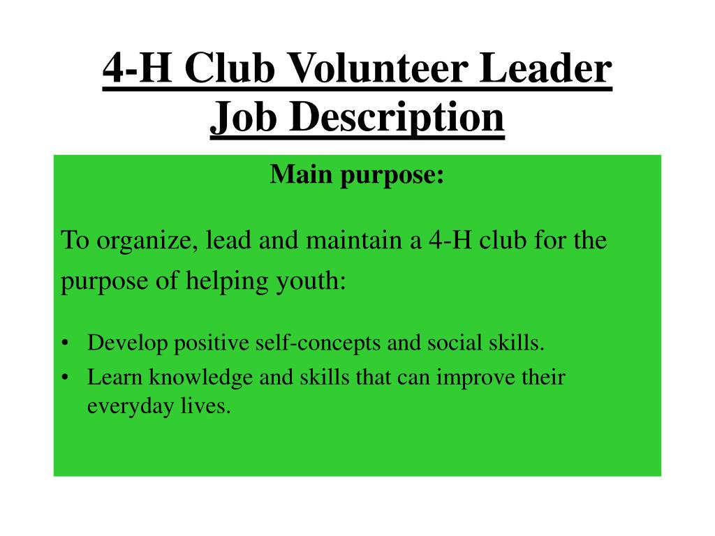 4-H Club Volunteer Leader