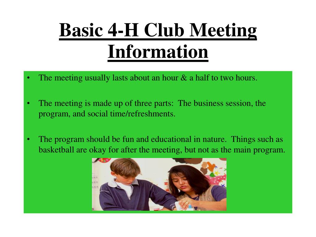 Basic 4-H Club Meeting Information