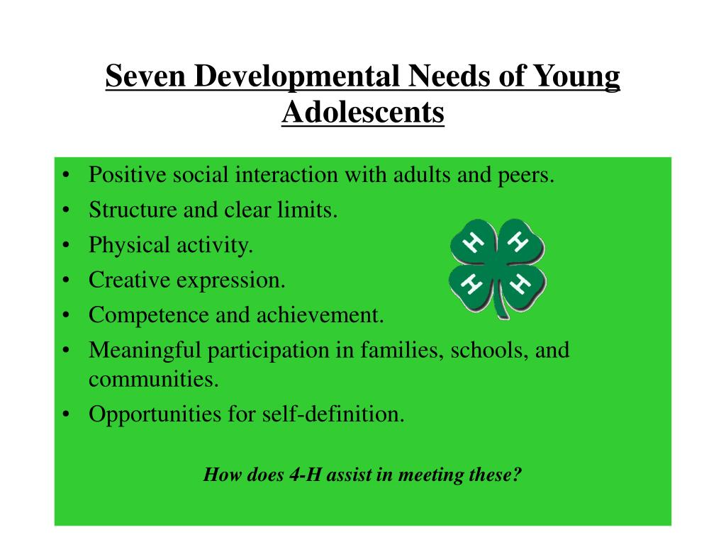 Seven Developmental Needs of Young Adolescents