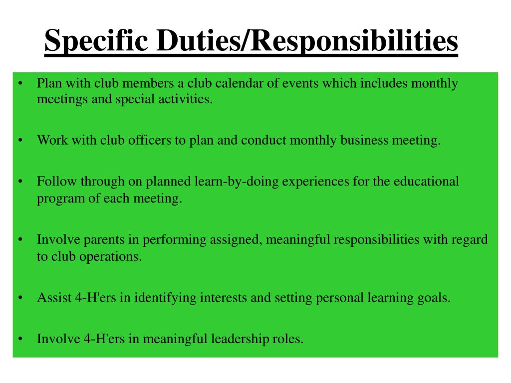 Specific Duties/Responsibilities
