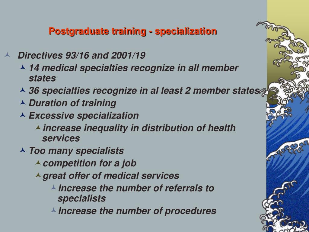 Postgraduate training - specialization