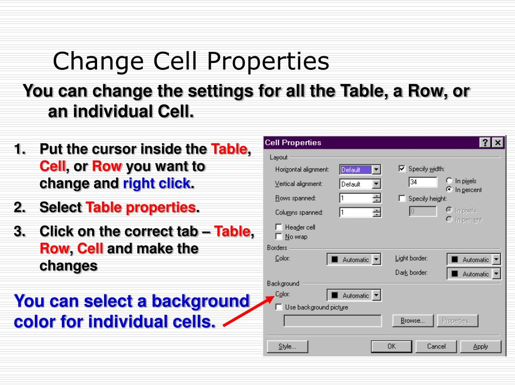 Change Cell Properties