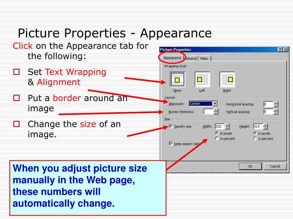 Picture Properties - Appearance