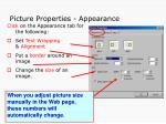 picture properties appearance