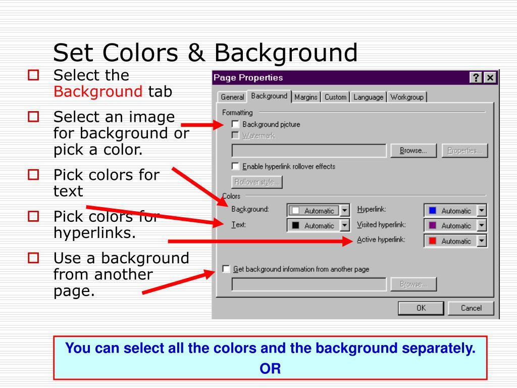 Set Colors & Background