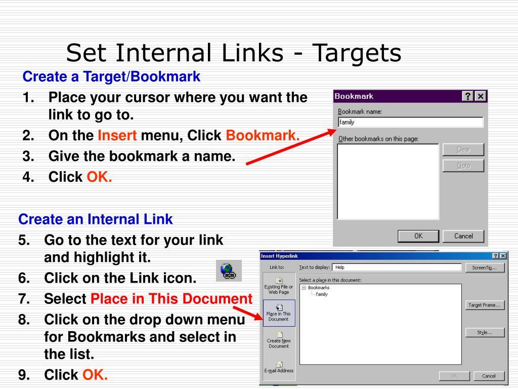 Set Internal Links - Targets