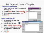set internal links targets