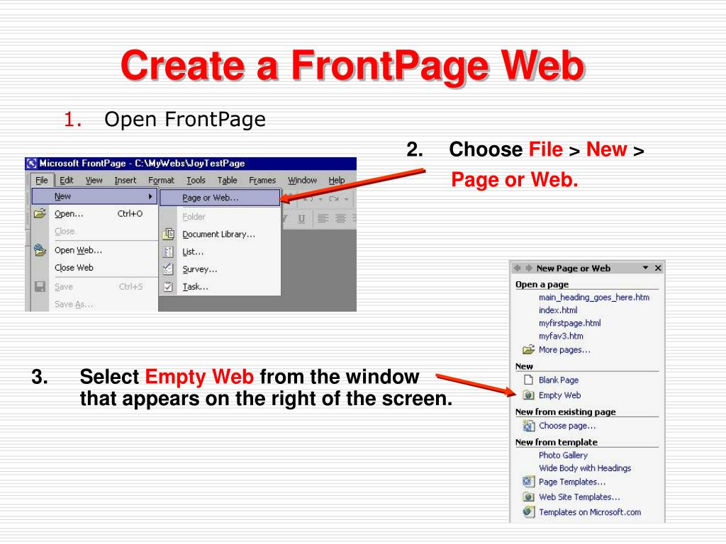 Create a FrontPage Web
