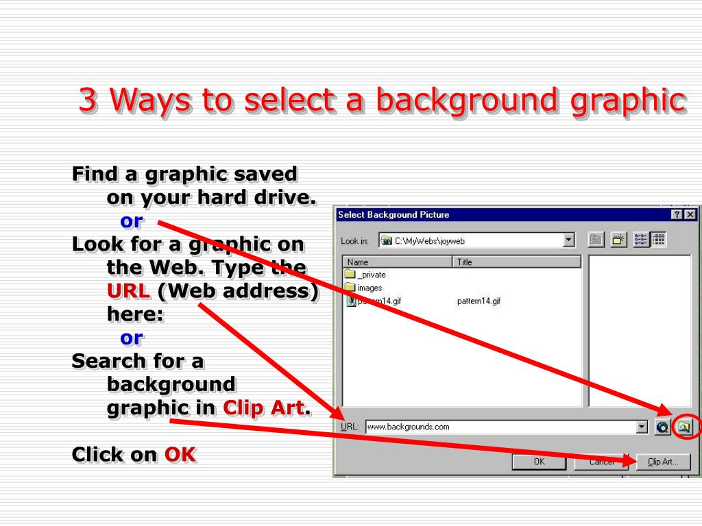 3 Ways to select a background graphic