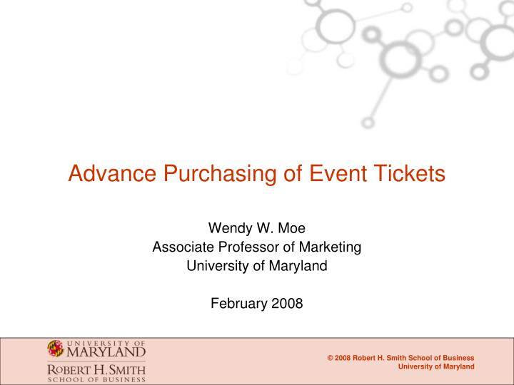 Advance Purchasing of Event Tickets