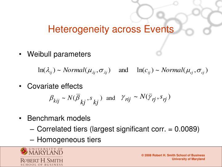 Heterogeneity across Events