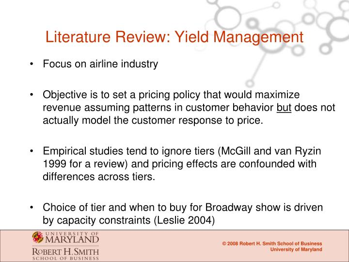 Literature Review: Yield Management