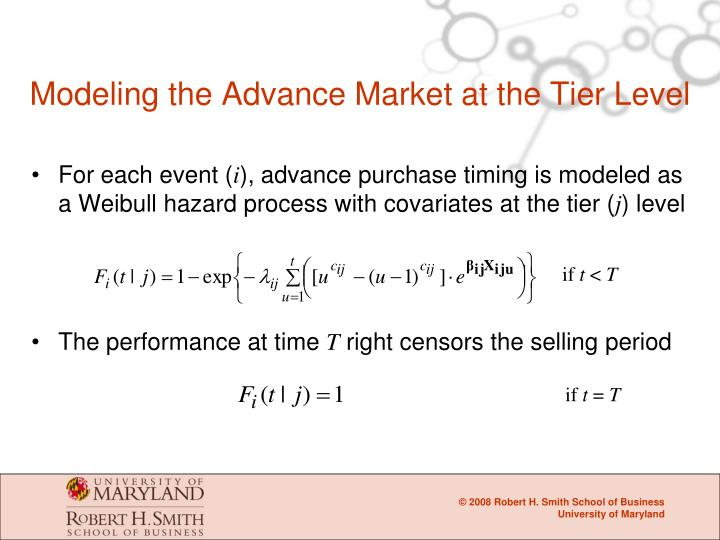 Modeling the Advance Market at the Tier Level