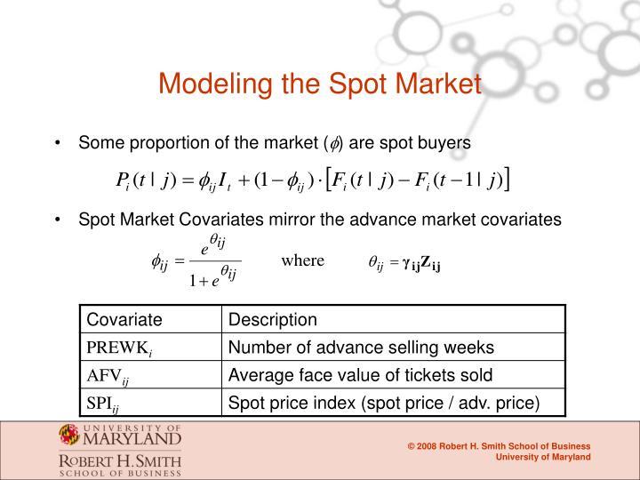 Modeling the Spot Market