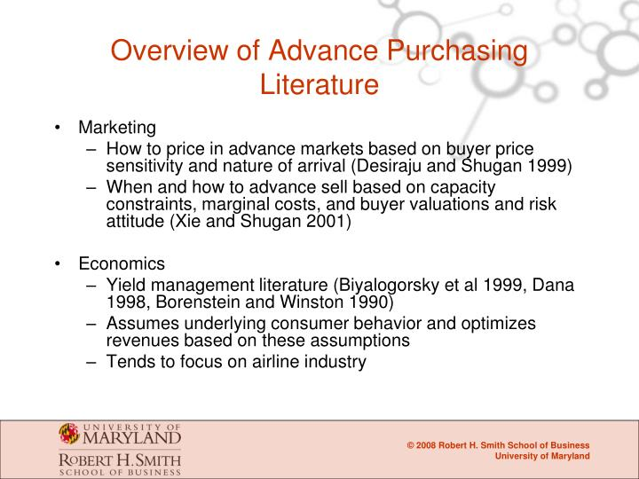 Overview of Advance Purchasing Literature