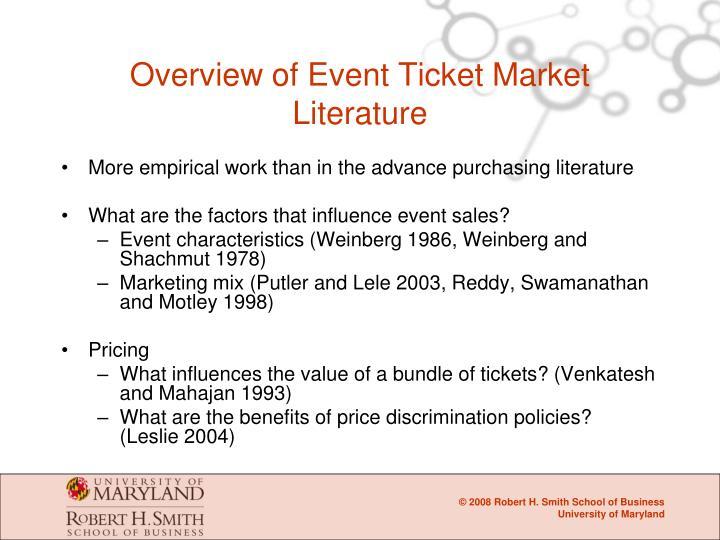 Overview of Event Ticket Market Literature