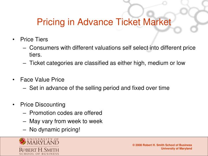 Pricing in Advance Ticket Market