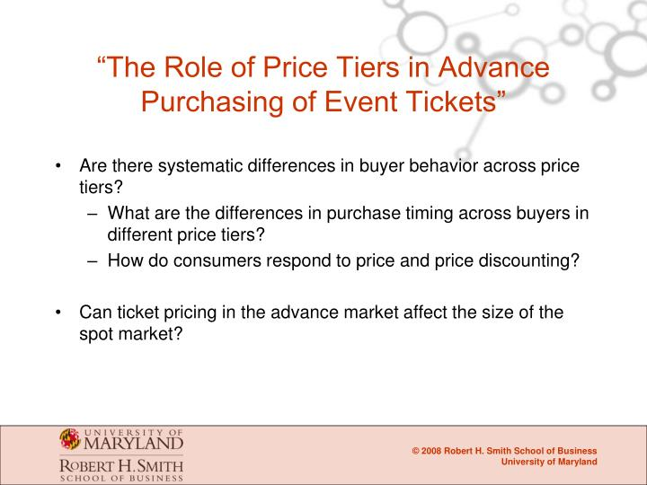 """""""The Role of Price Tiers in Advance Purchasing of Event Tickets"""""""