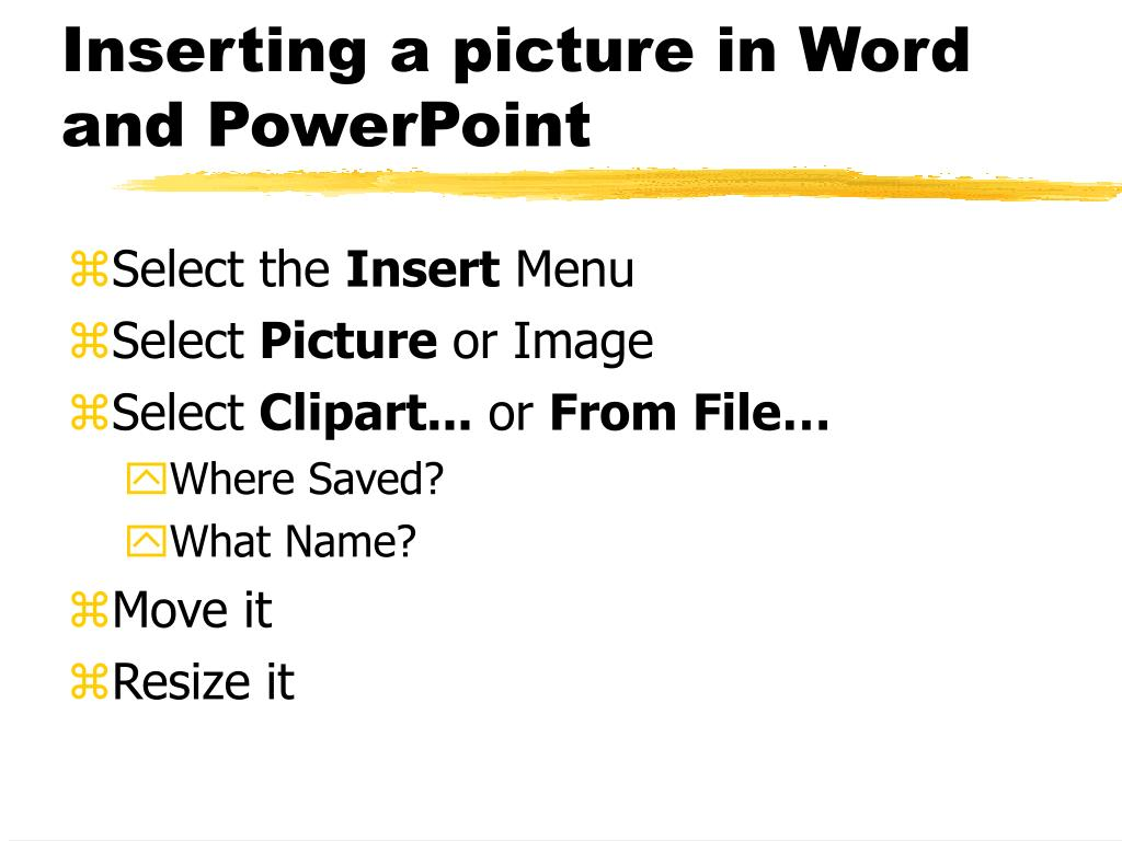 Inserting a picture in Word and PowerPoint