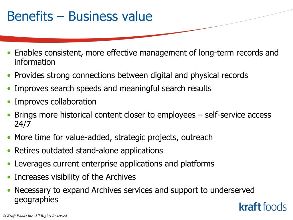Benefits – Business value