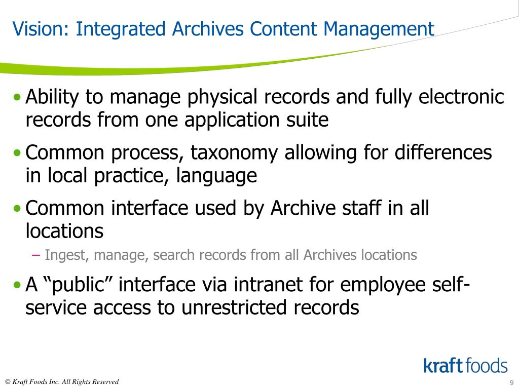 Vision: Integrated Archives Content Management