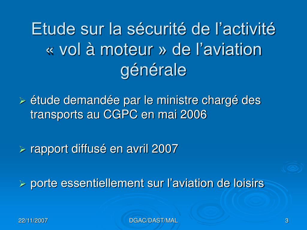 Etude sur la sécurité de l'activité «vol à moteur» de l'aviation générale