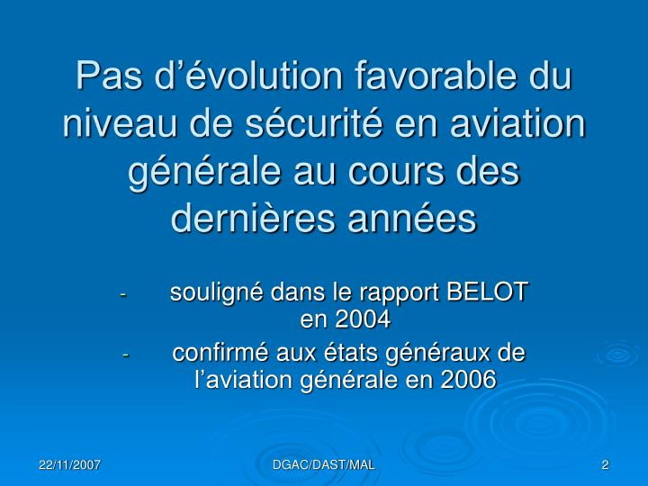 Pas d volution favorable du niveau de s curit en aviation g n rale au cours des derni res ann es