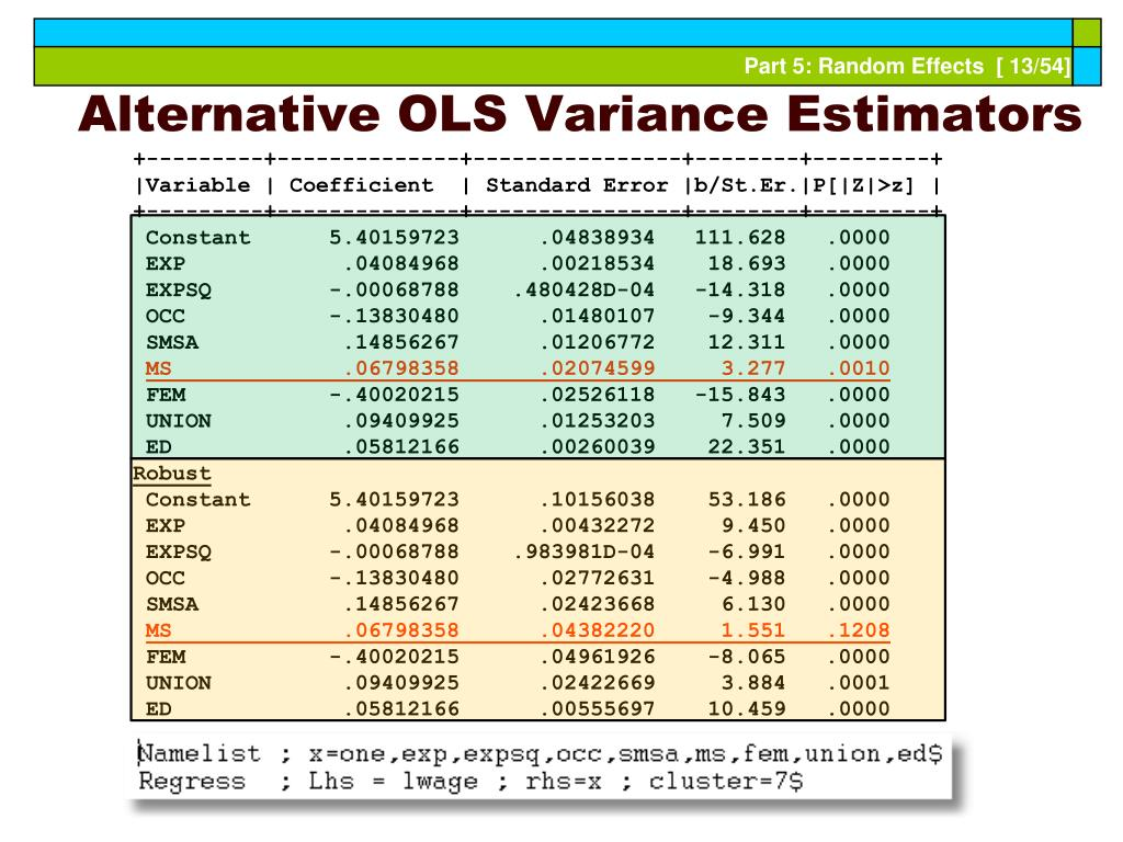 Alternative OLS Variance Estimators